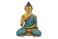 Brass and Stones Sitting Buddha on OneKingsLane.com