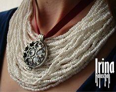 Ukrainian necklace Ukrainian jewelry Tribal necklace with round pendant Necklace to vyshyvanka Boho necklace Boho jewelry Tribal jewelry African Earrings, Tribal Earrings, Beaded Earrings, Earrings Handmade, Tribal Jewelry, Boho Jewelry, Seed Bead Necklace, Boho Necklace, Fashion Necklace