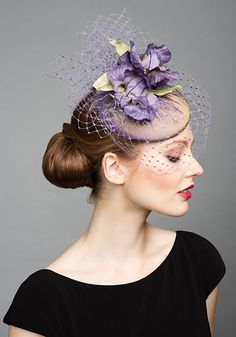 Rachel Trevor Morgan Millinery S/S 2015, R1594 Lilac pillbox with veil and purple silk flowers