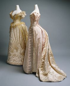 Two intricate Charles Frederick Worth ballgowns dated from 1887 to 1892. Photo is from the MET.