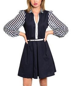 Look at this #zulilyfind! Navy & White Stripe Belted A-Line Dress by The Wholesale Fashion Square #zulilyfinds