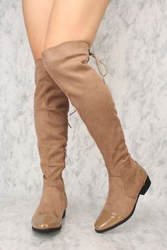 3db75d0dc4 Sexy Taupe Faux Leather Patent Detailing Round Toe Thigh High Boots Faux  Suede