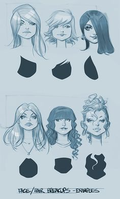 face/hair braskups ✤ || CHARACTER DESIGN REFERENCES | Find more at https://www.facebook.com/CharacterDesignReferences if you're looking for: #line #art #character #design #model #sheet #illustration #expressions #best #concept #animation #drawing #archive #library #reference #anatomy #traditional #draw #development #artist #pose #settei #gestures #how #to #tutorial #conceptart #modelsheet #cartoon #hair