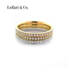 18K White/ Yellow/ Rose Gold Tri-Color ring set - LeZari & Co.