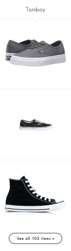 """""""Tomboy"""" by pheonix-879 ❤ liked on Polyvore featuring shoes, sneakers, grey leather sneakers, grey leather shoes, eyelet sneakers, gray sneakers, leather shoes, vans, trainers and port royale black"""
