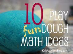 10 Fun Play Dough math activities for kids. THis site has lots of learning activities Math Classroom, Kindergarten Math, Teaching Math, Classroom Ideas, Math For Kids, Fun Math, Math Resources, Preschool Activities, Homeschool Math