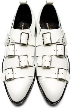 Comme des Garçons White Leather Slip-On Oxford Buckle Shoes