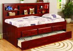 Daybeds meet Captains Beds plus a Bookcase Headboard in our bed designed to get the most functionality out of your space. These daybeds include lots of extra storage space with the bookcase headboard,