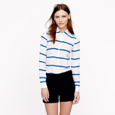"J. Crew Silk Striped Popover New with tags. Silk. Body length: 26 1/4"". Long sleeves. Dry clean. J. Crew Tops Blouses"