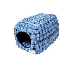 Casinha de Cachorro Túnel Xadrez Azul São Pet - Tamanho 01 - MeuAmigoPet.com.br #petshop #cachorro #cão #meuamigopet