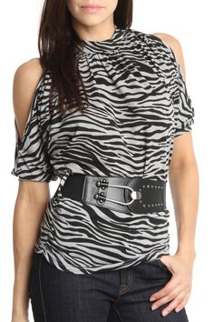 24/7 FRENZY Open Shoulder Animal Print Top In Gray Black