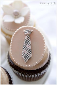Burberry Tie Cupcakes & Floral Cupcakes with Pearl Centers