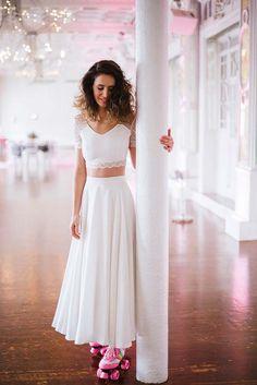 SHOOTINGINSPIRATIONMARIAGE-22 Waist Skirt, High Waisted Skirt, Two Piece Skirt Set, Wedding Dresses, Skirts, Fashion, Wedding Ideas, Dress Ideas, Beauty