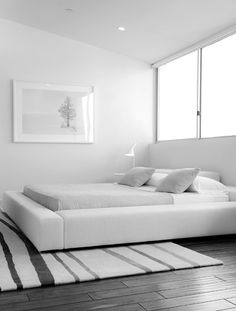 Minimal bedroom. Minimalist style is one of the crowning architectural achievements of the 20th century. Minimalism is charming in almost any space. Simplicity and elegance in furniture and decor choices. Check out http://www.pinterest.com/homedsgnideas/ for more amazing ideas.