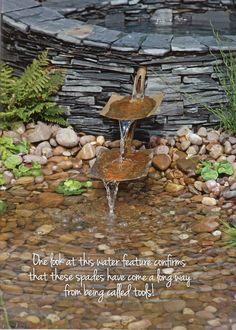 Water feature from old shovels.