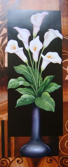 Calla Lilies In vase Calla Lillies, Calla Lily, Arte Floral, Mexican Art, Fabric Painting, Vintage Flowers, Diy Art, Art Lessons, Bunt