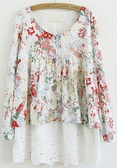 Red Flowers Puff Sleeve Above Knee Cotton Dress - Mini Dresses - Dresses