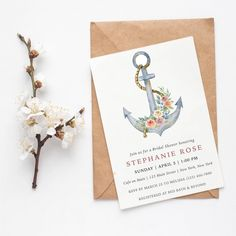 Anchors aweigh! Business Events, Papers Co, Anchors, Rsvp, Bridal Shower, Stationery, Place Card Holders, Shower Party, Papercraft