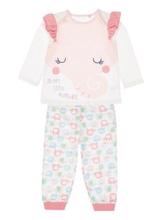 This cute and fun pyjama set is the perfect addition to her nightwear collection. In pink, this set has a long sleeved top and elephant patterned bottoms with an elasticated waist. A round neckline, cuffed ankles, as well as an amazing elephant graphic across the front completes this super-cute look. </p><p> </p><ul><li>Girls pink elephant pyjama set</li><li>Long sleeves</li><li>Elasticated waist</li><li>Elephant patterns</li><li>Cuffed ankles</li><li>Keep away from fire </li></ul>