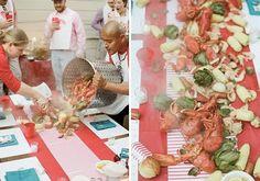 Lobster boil dinner party.