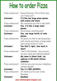 ordering food - speaking activity - PART 2 - A2