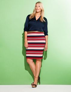 Love the variegated stripe skirt as an update to the rugby stripe skirt from last season. All by eloquii.