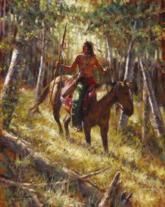 Among the Forest Spirits - Crow - Native American Giclee