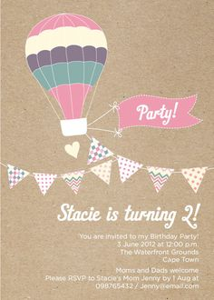 Girl Hot Air Balloon, Pastels and Bunting Todler Birthday Party Invitation - Printable Designs. $15.00, via Etsy.