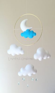 READY TO SHIP Baby Mobile Cloud Mobile Clouds por LoveFeltXoXo
