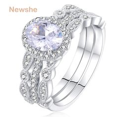 online shopping for Newshe Jewellery Engagement Sets Wedding Rings Women 925 Sterling Silver White Cz Size from top store. See new offer for Newshe Jewellery Engagement Sets Wedding Rings Women 925 Sterling Silver White Cz Size Sterling Silver Wedding Rings, Wedding Rings Vintage, Wedding Rings For Women, Rose Gold Engagement Ring, Diamond Wedding Rings, Silver Jewelry, Diamond Jewelry, Silver Bracelets, Diamond Rings