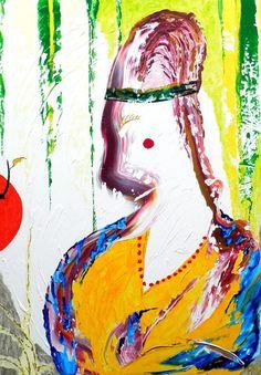 Meisje met de kers, schilderij van Twan Kuhlmann .. Kunst / Abstract / Modern / Schilderij