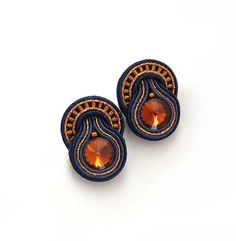 Christmas gift for her small amber navy blue earrings by sutaszula