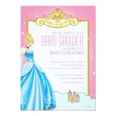 Custom Disney Princess Cinderella It's a Girl Baby Shower Personalized Announcements created by disney. This invitation design is available on many paper types and is completely custom printed. Party Invitations Kids, Printable Baby Shower Invitations, Baby Shower Invites For Girl, Baby Shower Cards, Baby Shower Themes, Shower Ideas, Shower Baby, Girl Shower, Disney Invitations
