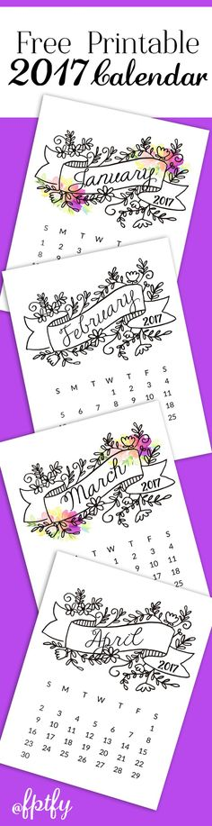 Free 2017 Printable Calendar! - Free Pretty Things For You
