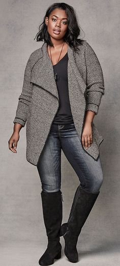 Plus Size Cardigan Outfit - Shop The Look big size fashion http://amzn.to/2kRZpiY