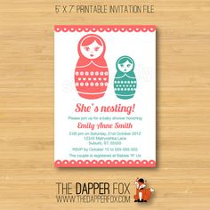 Babushka Baby Shower Invitation - Matryoshka Nesting Doll - Printable - 5x7 - Girl baby shower on Etsy, $10.00