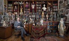 Mark Ryden---surrealist painter, in his studio or home