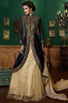 Brown Net & Satin Fabric Pretty Designer Lehenga Choli Online Shopping ,Indian Dresses - 1