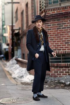 Street fashion, Japan. High class, mens fashion.