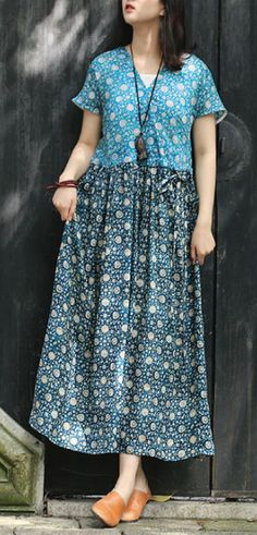 Handmade blue print linen clothes For Women Metropolitan Museum pattern v neck patchwork Traveling Summer Dress - Summer dresses - Summer Dress Outfits Baby Boys, Women Clothing Stores Online, Older Women Fashion, Female Fashion, Travel Dress, Summer Dress Outfits, Linen Dresses, Metropolitan Museum, Clothes For Women