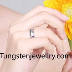 Tungsten Rings Brand faceted & polished shiny