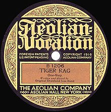 "The first release of ""Tiger Rag"" on Aeolian Vocalion, B1206, 1917."
