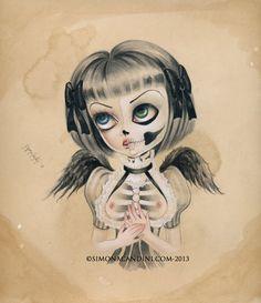 Ensemble Me gratuit à tirage limité signé numéroté lowbrow pop surréaliste grands yeux de Simona Candini OS poésie et art gothique du crâne sucre ange