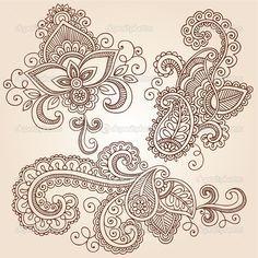 henna patterns | Henna Mehndi Tattoo Doodles Vector Design Elements | Stock Vector ...