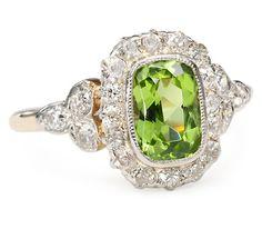 Art Deco Peridot Diamond Ring, c. 1920 - The Three Graces