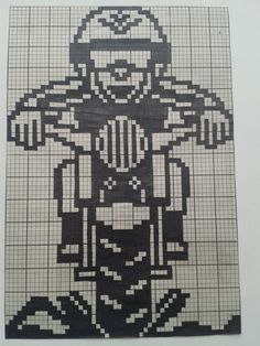 Dirt bike rider x-stitch Filet Crochet Charts, Knitting Charts, Crochet Stitches, Baby Knitting, Crochet Hooks, Blackwork Patterns, Cross Stitch Patterns, Pixel Crochet, Graph Design