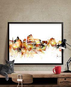 Rome Art, Skyline Art, City Art, Rome Italy, Watercolor Paintings, Art Prints, Etsy, Print Poster, Wall Art