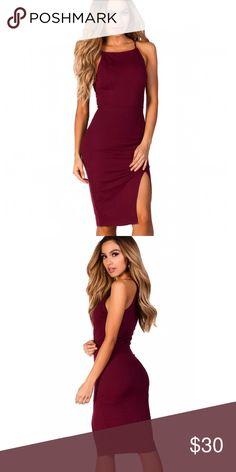 a93b4c5ecdb857 ⚡️FLASH SALE⚡️Midi Cocktail Dress w  Leg Split Burgundy knee length sheath  dress