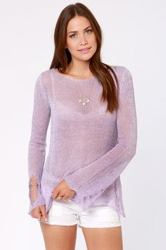 A-Shred of the Game Lavender Sweater