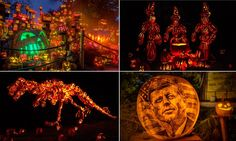 """Smashing pumpkins: 10,000 beautifully carved Jack O'Lanterns on display"" -- If you live anywhere near these (RI and NY), go; if you don't, click through for a real treat and lots of photos of astonishing art!! (Unusual process: ""The crew from Passion for Pumpkins...shaves off the skin, then the bottom is cut out and the inside is cleaned, leaving the skin about a quarter of an inch thick. This allows the light bulb to illuminate the image on the outside."")"